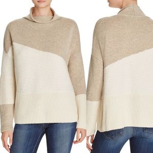 FRENCH CONNECTION Color Block Sweater in Oatmeal